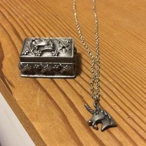Jewelry - Unicorn pin box and necklace